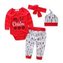 302380a56 Bebé Ropa de Navidad trajes divertidos niños algodón ropa 4 unids sets my  1st Navidad sombrero