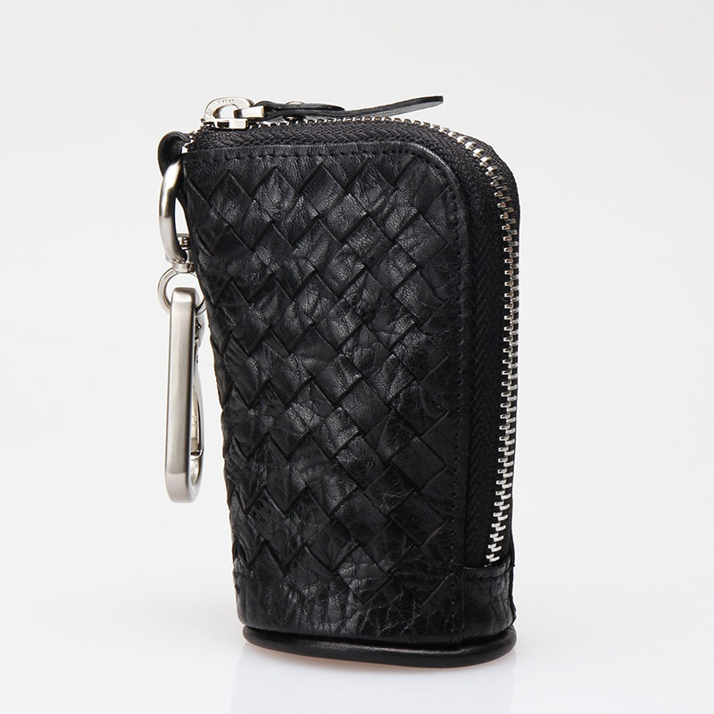 Cowskin Weave Key Chain Bag Fashionable Car Key Bag Genuine Leather Large Capacity Weave Bag For Keys Christmas Gift Hot Sale
