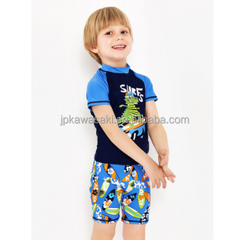 Custom Made Sublimation Printed Spandex Polyester Boys Swimwear and Beachwear SPF50+ Short Sve Tankini Swimsuit for Kids