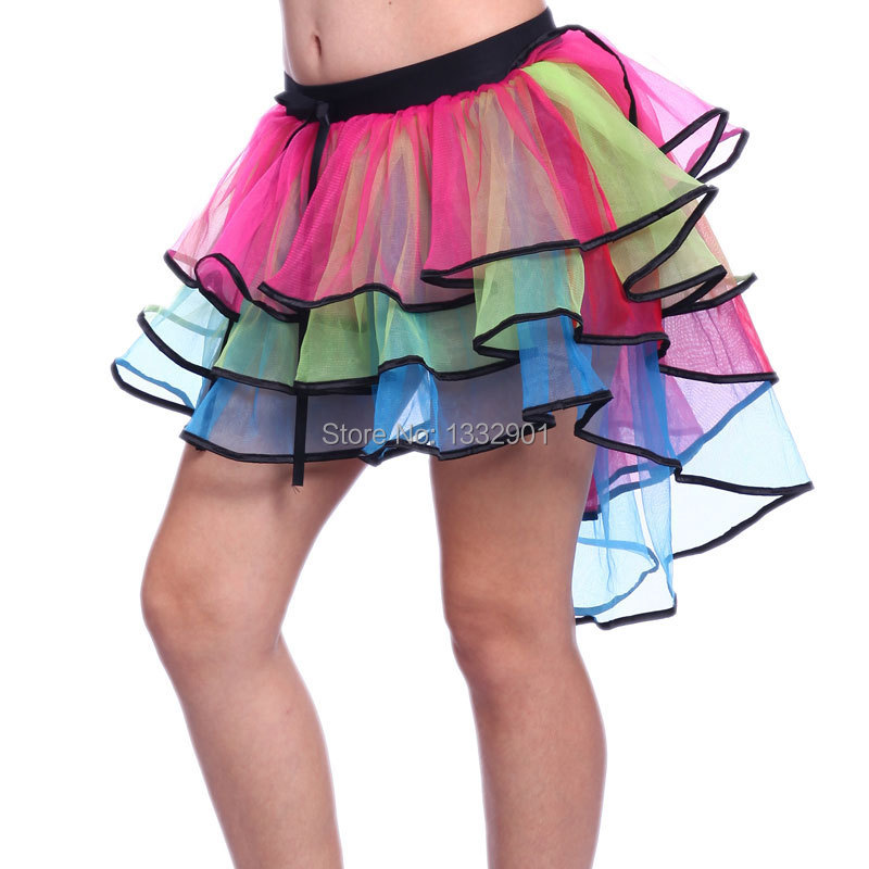 8d3ef2e49 Rainbow Neon RaRa Rave Party Ballet Dance Ruffled Tiered Tutu Skirt Clubwear