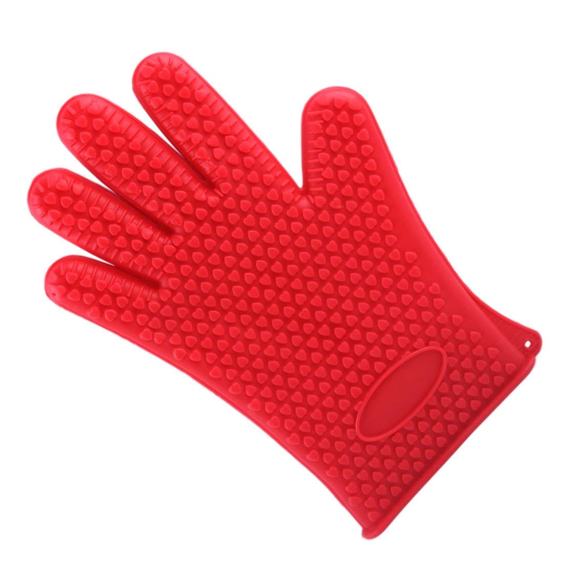 Silicone Heat Resistant Glove Microwave Oven Pot Baking BBQ Cooking Mitt (Red)