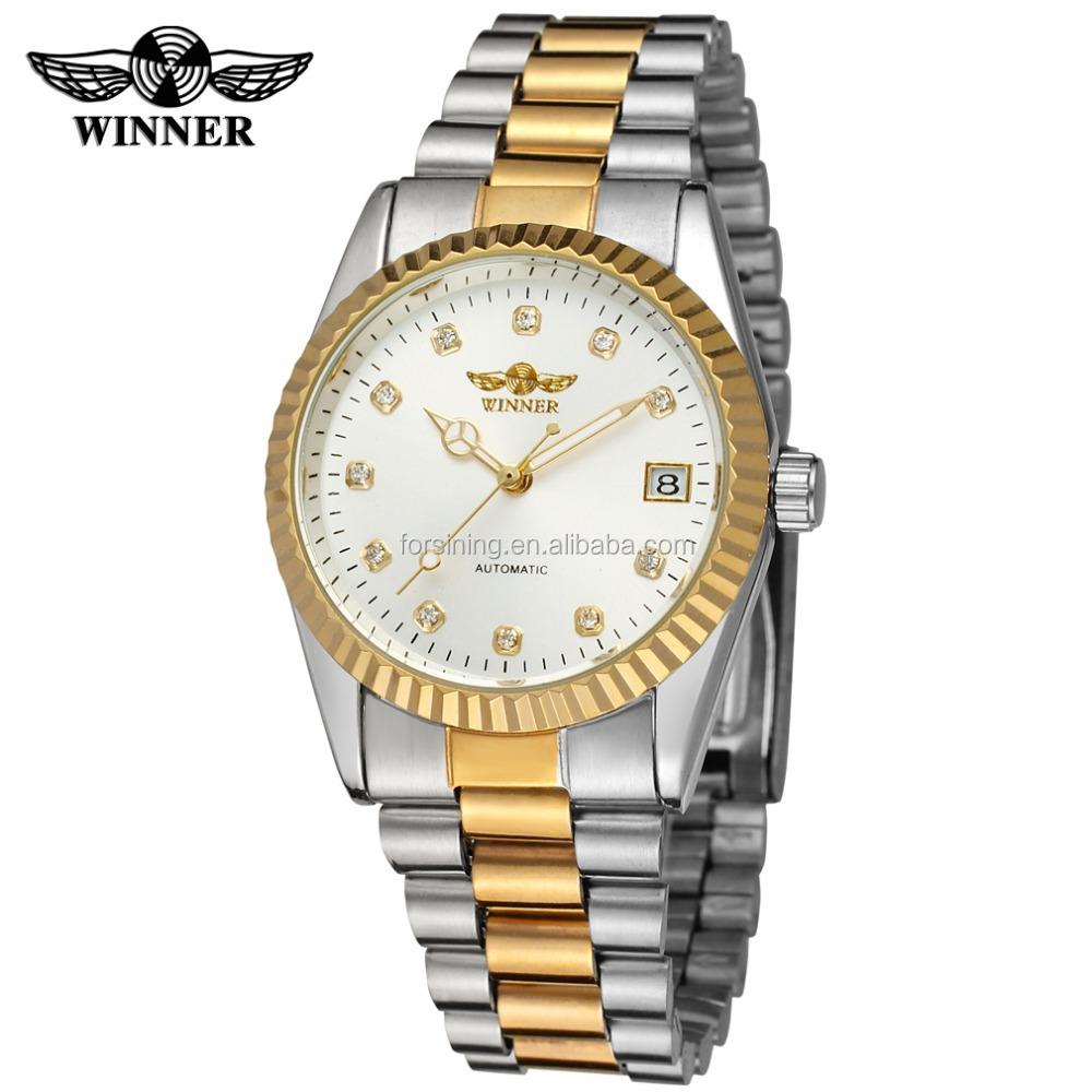 0092e5620f96 Оптовая стиль автоматическое движение мужские часы золотой цвет циферблат с  камнями