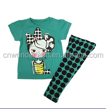 bc1822aa04794 Summer 2pcs Set Baby Girls Tee Shirt Front Chest Print With Full Print  Pants Kids Clothes Kids Clothing Children Frocks Designs - Buy Kids ...