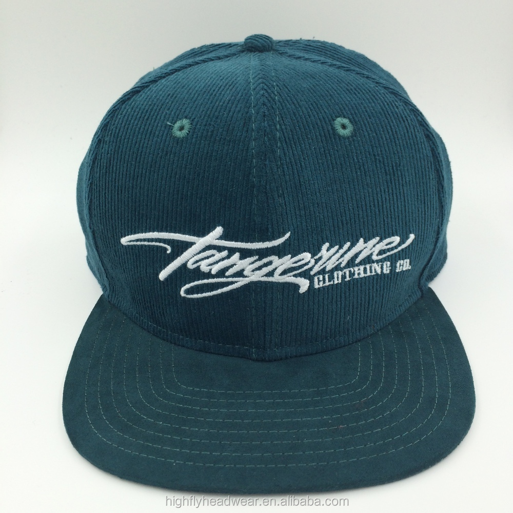 Customized corduroy 6 panel snap back hat embroidery logo cap