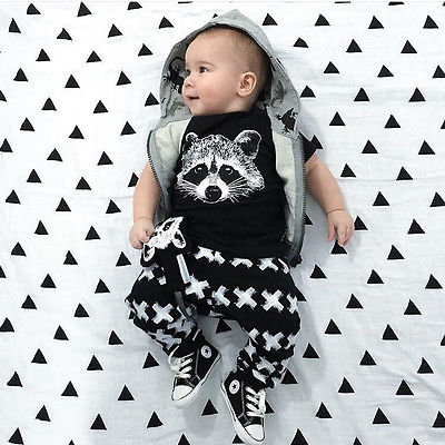 NWT Toddler Baby Girl Boy Fox T shirts Pants Leggings 2pcs Outfits Set Clothing