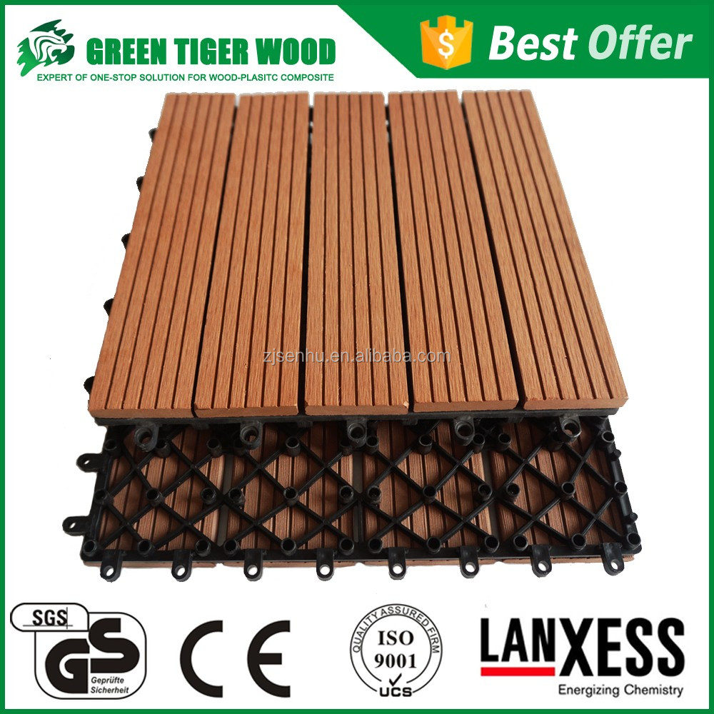 waterproof outdoor DIY wpc decking tile for balcony, swimming pool