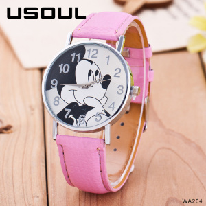 Lovely Cartoon Mickey Mouse Face Slap Children Leather Band Wristwatches Cheap Japan Quartz Movement Kids Watch