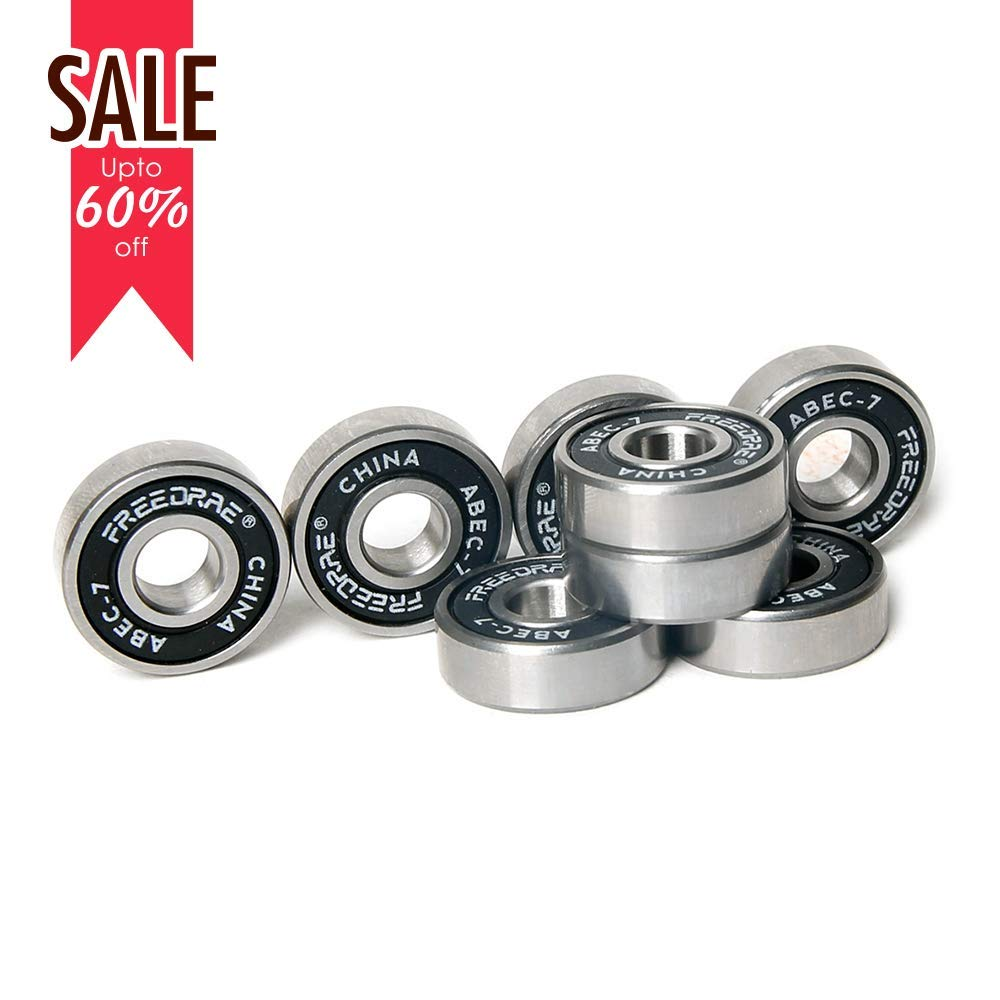 Freedare ABEC-7 Bearings - Skateboard Bearings, Longboard Bearings, Inline and Roller Skate Bearings(1 Set of 8)