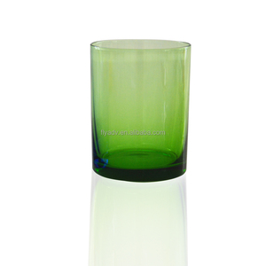 hand blown solid smoke color glass drinking tumbler cup with color