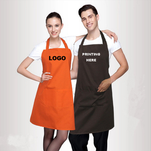 Free Shipping Customized Your Logo 2 Front Pockets Plain Color Comfortable Unisex Cheap Kitchen Apron