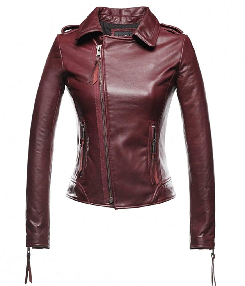 Women Wine Red Star Style Genuine Leather Jacket Excliria