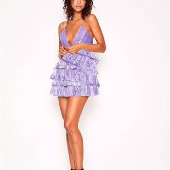 Purple Fashion Sexy Tired Ruffled Pleated Shell Dress Short Women Party Club Dresses