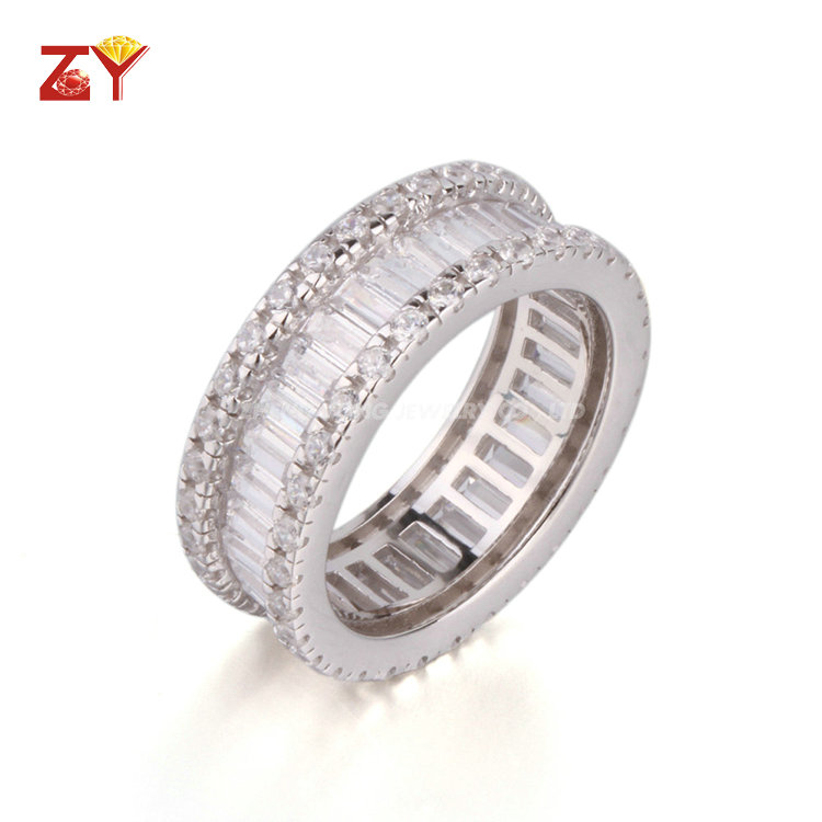 ZY Jewelry white cz rhodium plated silver ring jewelry for women
