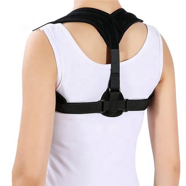 Black comfortable Adjustable Posture Corrector Figure 8 Upper Back Brace For Clavicle Support, Black or as your requirments