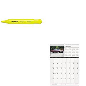 KITHOD3772UNV08861 - Value Kit - House Of Doolittle Classic Cars Monthly Wall Calendar (HOD3772) and Universal Desk Highlighter (UNV08861)