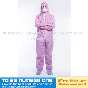 Personalized Work Overalls/Nonwoven Fireproof Coverall/Disposable Pink Coverall Manufacturer