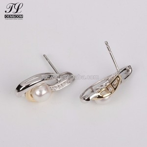 AAAAA bling cz pave pearl stud earrings wholesale lot+south sea pearl earrings gold