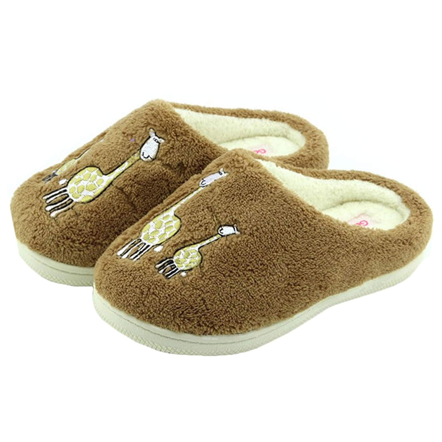 Get Quotations · JadeRich Women s Giraffe Pattern Soft Fleece Warm House  Slippers a6874326bf02