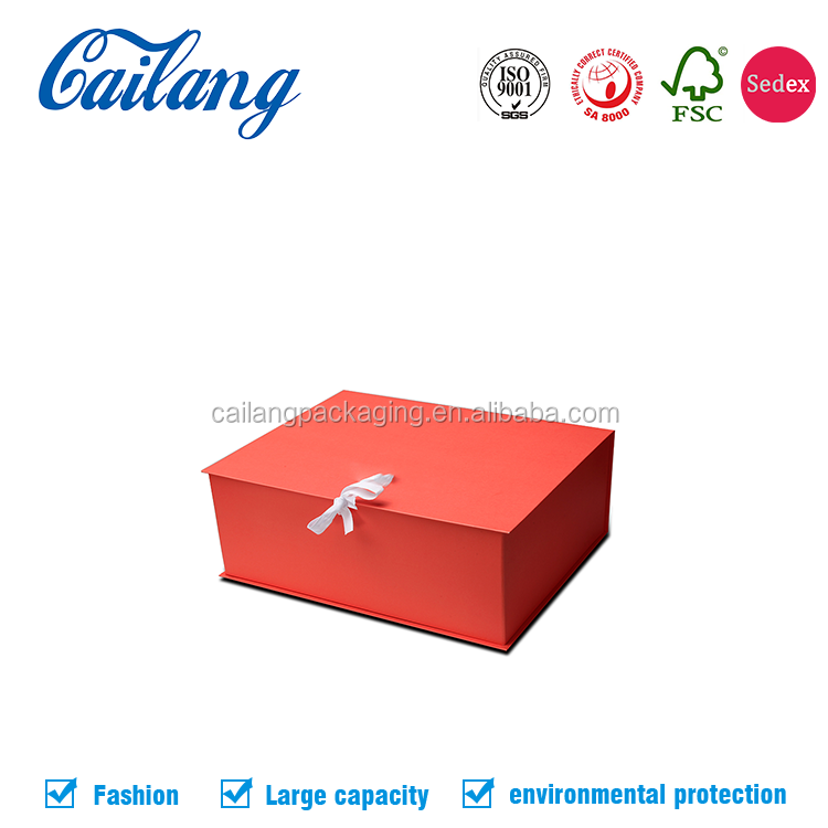 2017 cailang magnetic closure gift box with ribbon tie for cosmetic/apprael packaging free sampels shipping