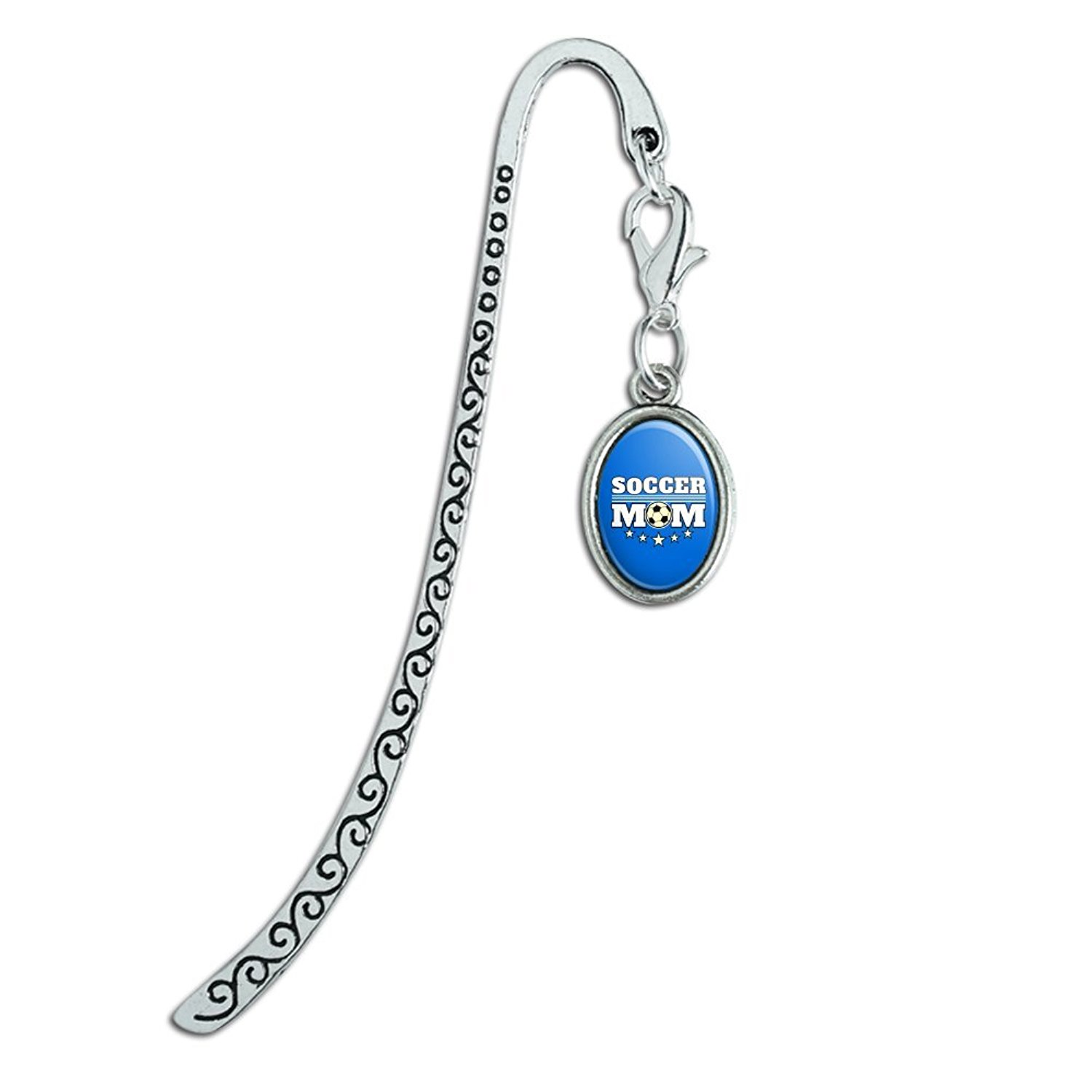 Soccer Mom Mother Sports Metal Bookmark Page Marker with Oval Charm