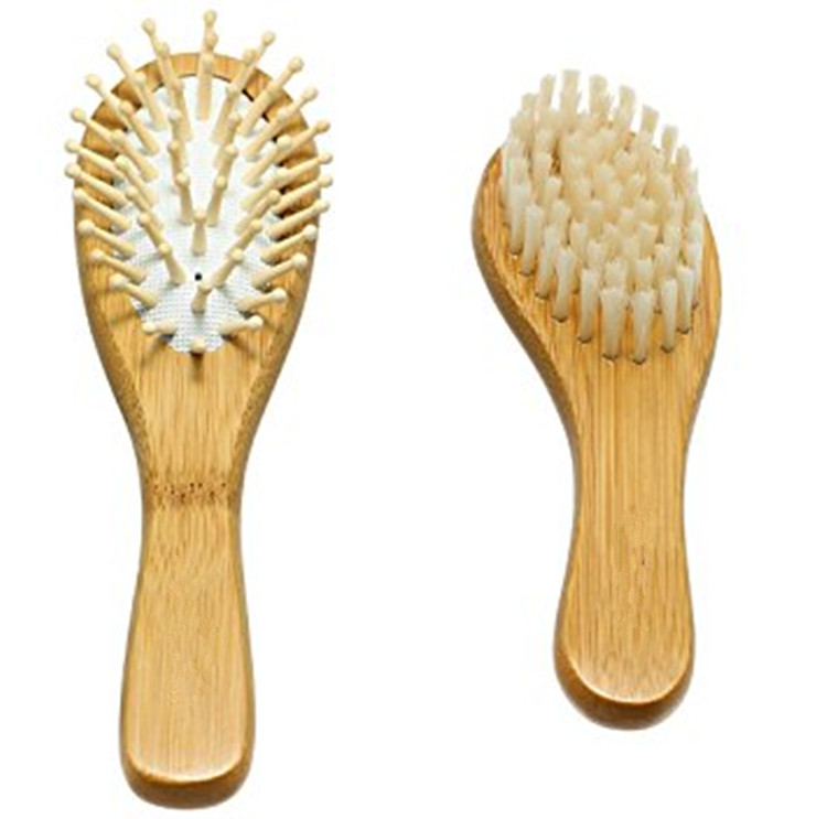 Natural Baby Wooden Hair Brush and Comb Set with Soft Goat Bristles