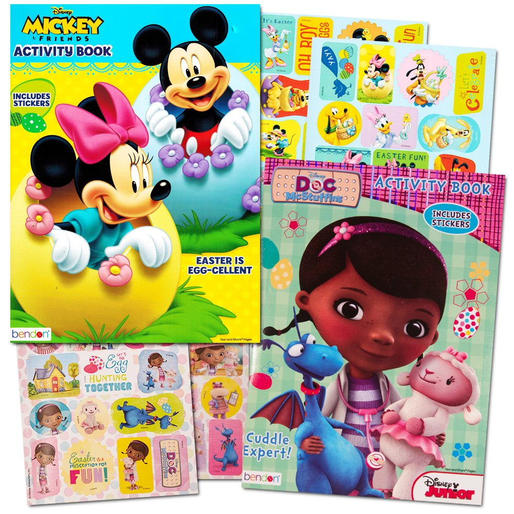 Disney Easter Coloring Books Super Set with Stickers (2 Books Featuring Minnie Mouse, Mickey Mouse, Doc Mcstuffins and More!)