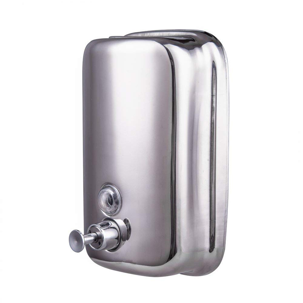IMEEA Soap Dispenser Manual Wall-Mount Liquid Lotion Dispenser for Kitchen Bathroom Countertop SUS304 Stainless Steel (500ml/17oz)
