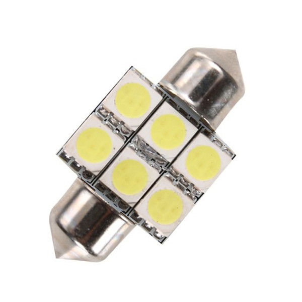 Festoon C5W LED Bulb 5050 6SMD 31mm car license plate lights luggage compartment light reading lighting