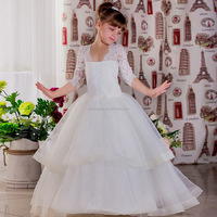 Cheap White Flower Girls Dresses For Wedding Gowns Lace Sash Bow Girl Birthday Party Dress Tulle Pageant Dress