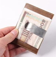 Vintage style famous brand mini ID card cash holder metal clip mens leather money clip wallet