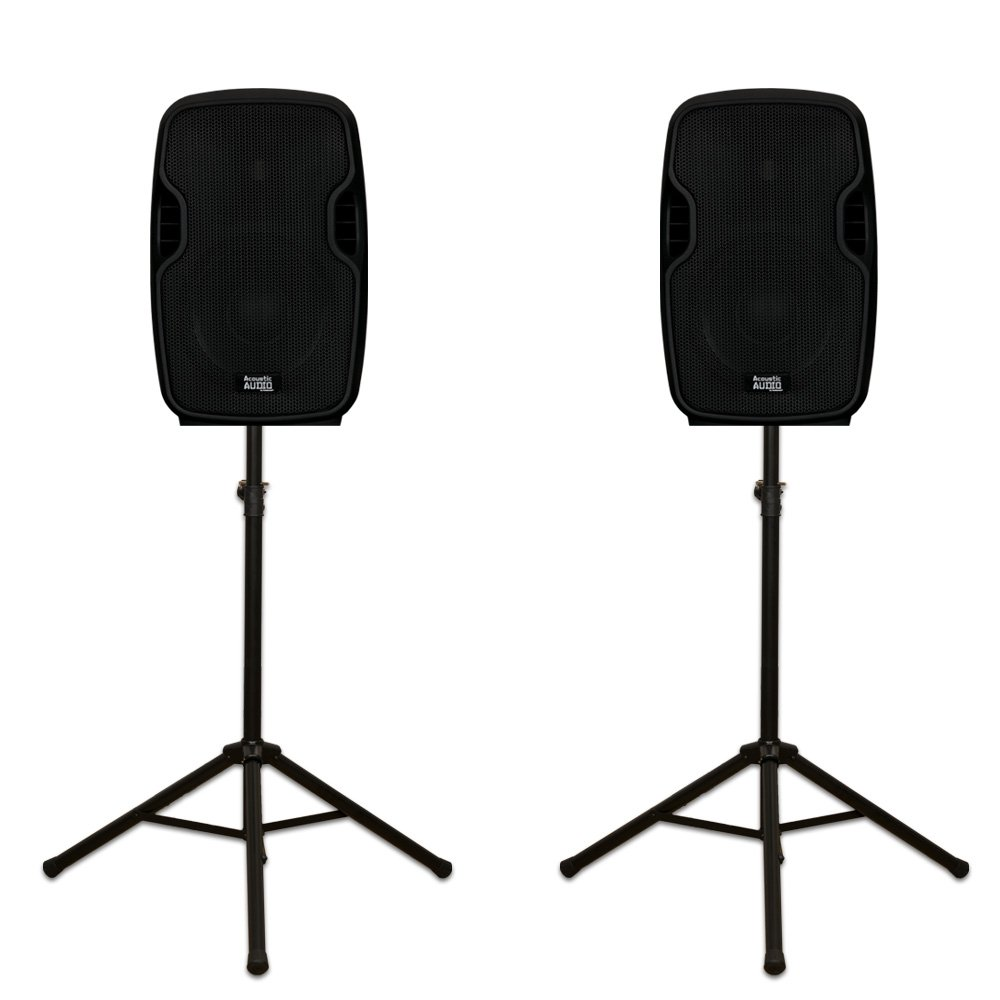 Acoustic Audio AA85UB Active 1200 Watts Bluetooth Powered Rechargeable Speaker Pair 2 Way and Stands