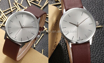 Waterproof Dark Brown Leather Band His & Hers Wrist Watches for Couple Lovers with Ultra-thin Case