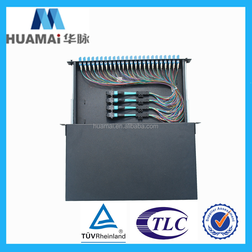 96 core rack mount odf Fiber Optic Patch Panel 24 48 72 96 port 1 U 19'' ODF with LC Connectors MPO patch cord inside