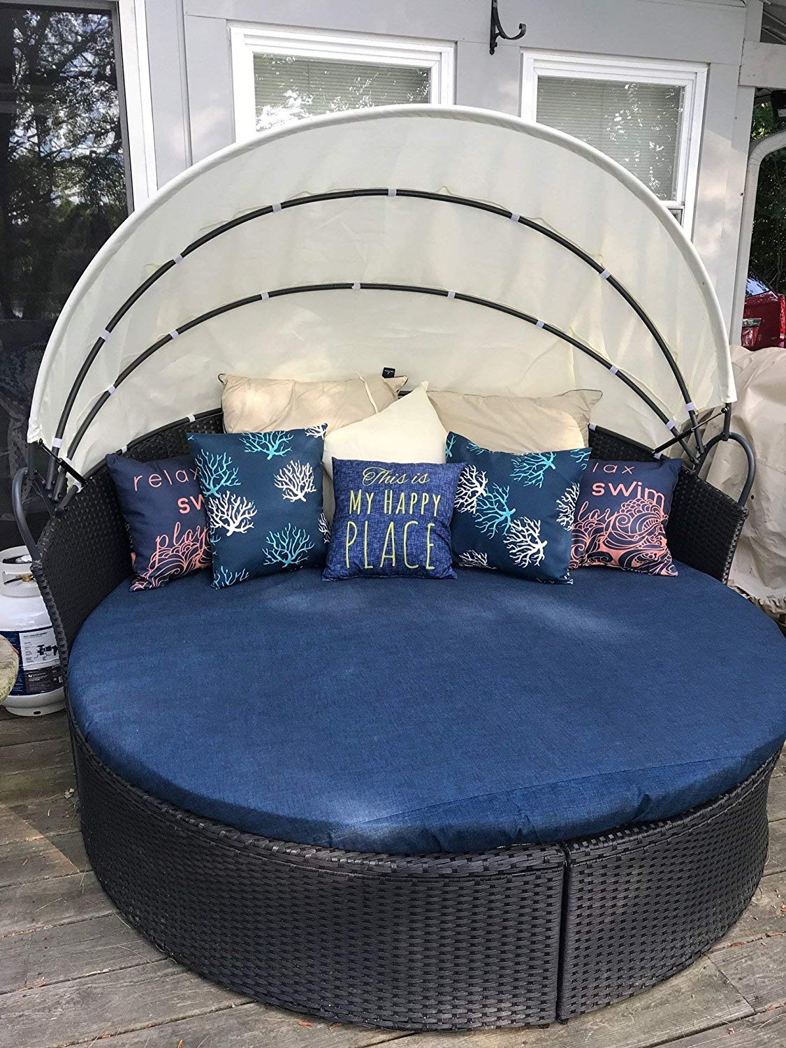 Outdoor Daybed Cover, Daybed Cover with drawstring, Sun bed cushion cover