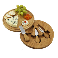 Food grade round cheese board set bamboo with 3 cheese cutting tools