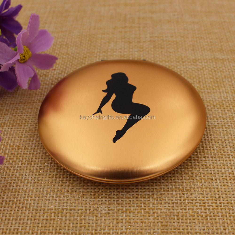 Wholesale gold mirror pocket/ mini makeup compact mirror with dancing girl