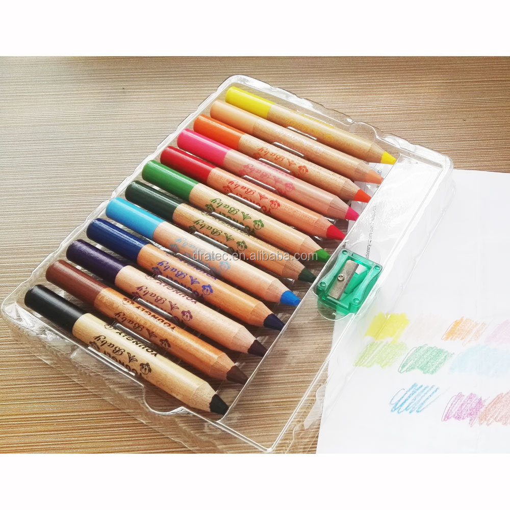 12 color wooden crayons, 12cm length jumbo pencils