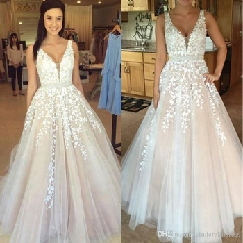 fa8a508d150 Dl10010 Gothic Blush White V-neck Sexy Lace Wedding Dress - Buy ...