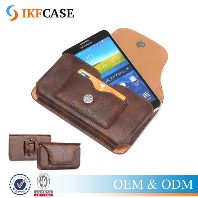 Universal Leather Belt Clip Holster Phone Pouch Case Bag for iPhone 6 6S Plus Vintage Card Slot Case for Samsung Galaxy S7 Edge