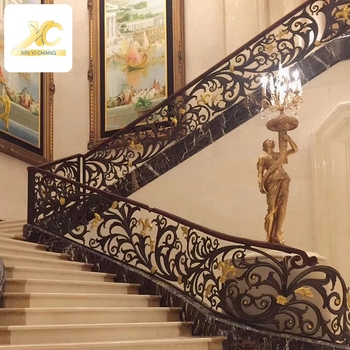 Metal Stair Baluster Floor Mounted Tubular Handrail Modern ...