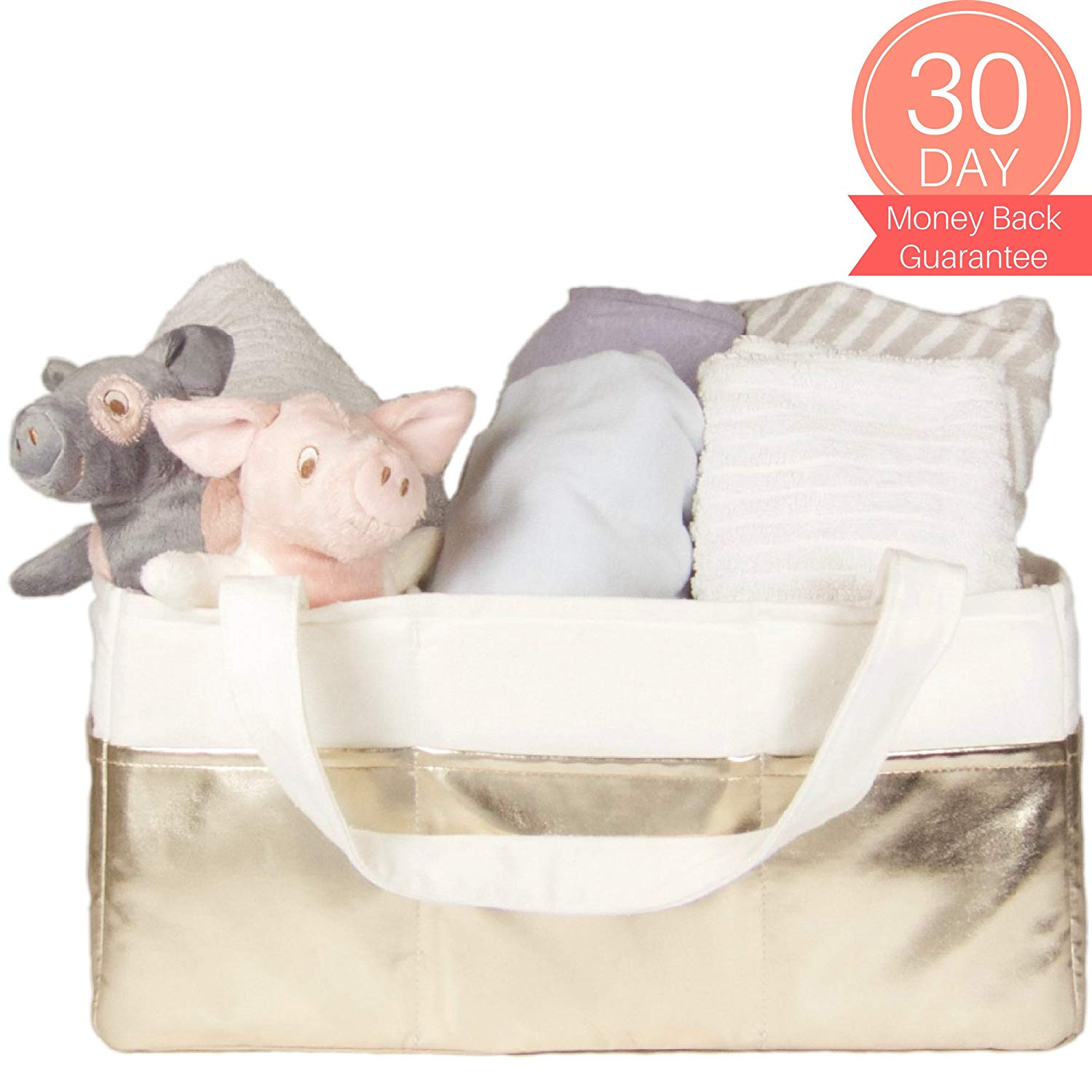Diaper Caddy Organizer Large - Baby Basket for Nursery | Nursery Storage Baskets | Diaper Organizer for Changing Table Girl & Boy | Baby Shower Gift Basket White & Gold