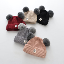 S34134W Peuter Haak <span class=keywords><strong>Beanie</strong></span> Hairball Oor <span class=keywords><strong>Baby</strong></span> Hoed Leuke Kinderen Caps