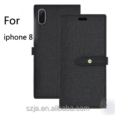 new products leather soft denim tpu shell cover case for iphone 8 wallet case