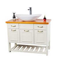 country style mdf bathroom cabinet furniture with ceramic basin