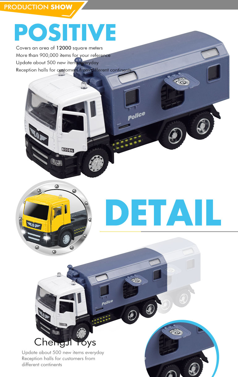 Hot sale metal toy model police transport truck diecast 1:50