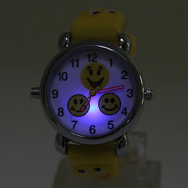 Lovely Children Flashing LED Light Silicone Quartz Cartoon Smiling Face Style Watch