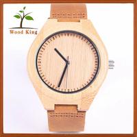 Design Your Own Q&Q Quartz Men'S Wooden Watch Band Leather Smart Watches Japan Miyota 2035 Movement Watch