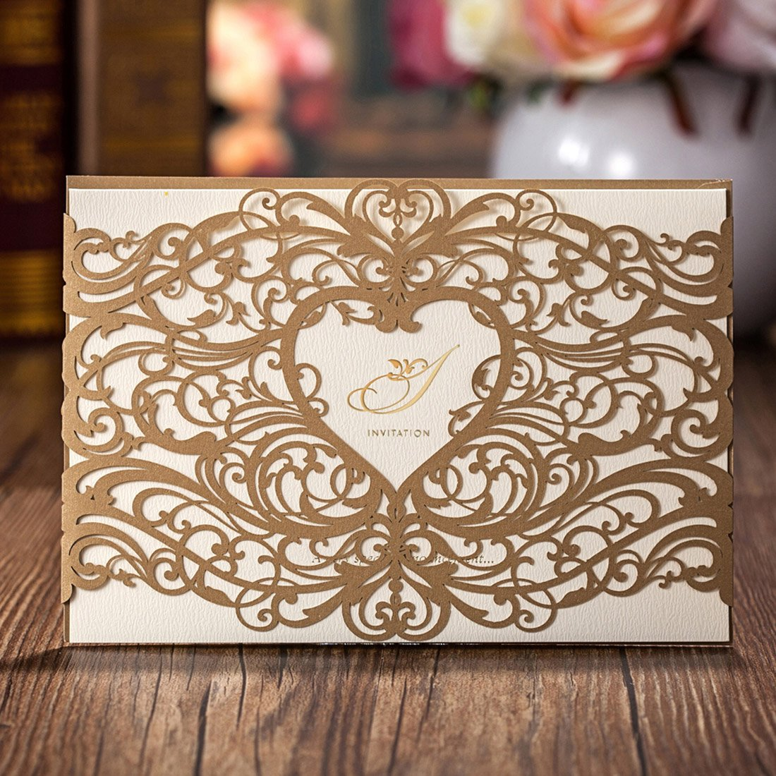 Wishmade 50 Pieces Elegant Heart Gold Laser Cut Wedding Invitations Cardstock With Lace Hollow floral for Birthday Baby Shower with Envelopes (pack of 50pcs)