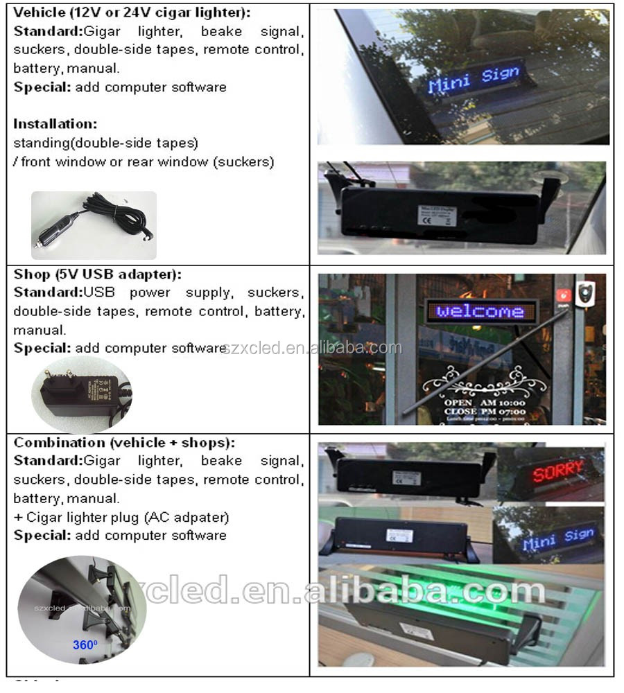 brightness adjustable 6 level LED Mini car sign series IR remote controller USB computer optional display board