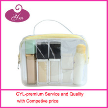 Cheap clear transparent pvc travel cosmetic organizer bag&makeup bag with hand